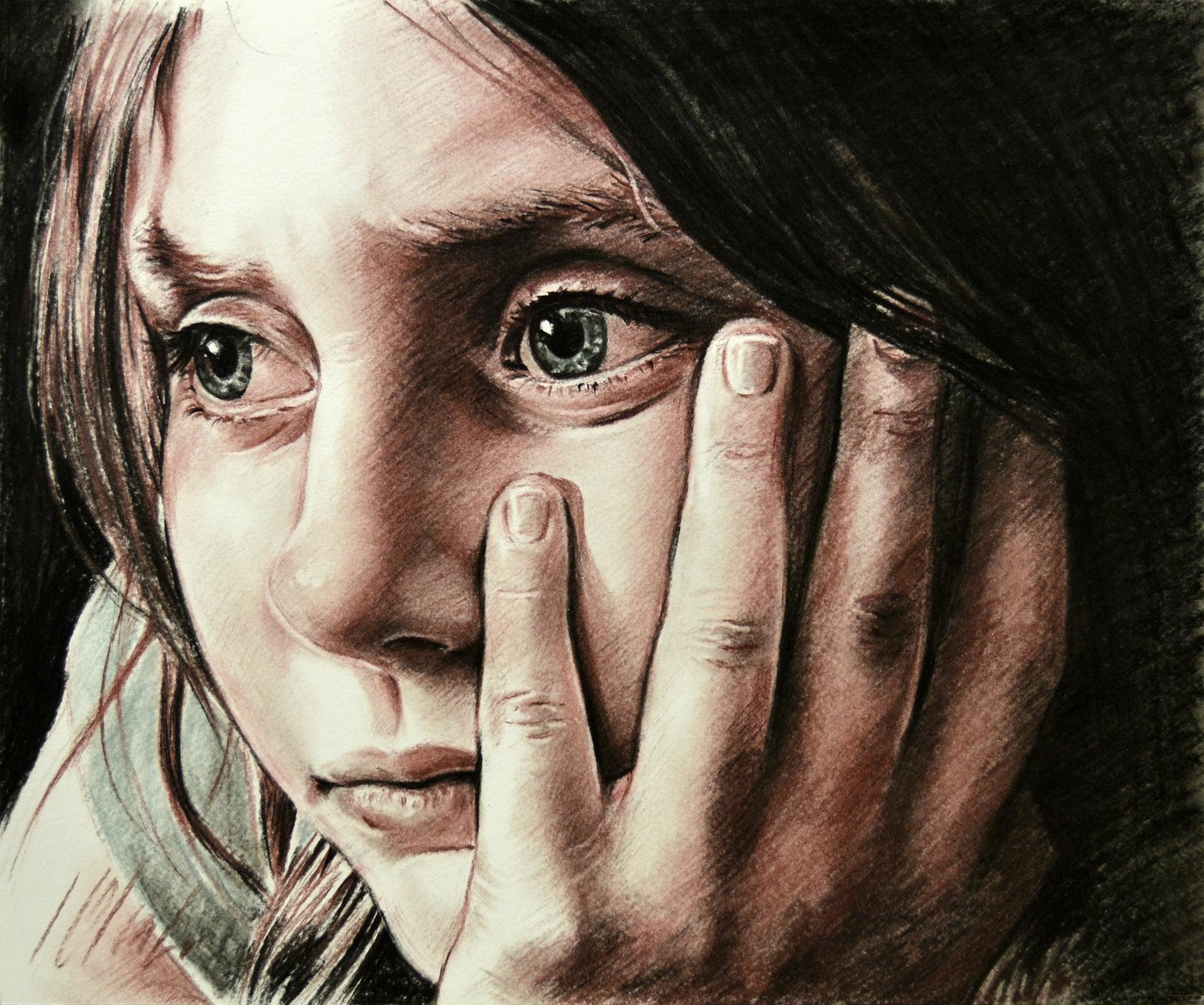 Alba. Retrato en lápices secos, 36,5 x 29,5 cm. Javier Olmedo, año 2019