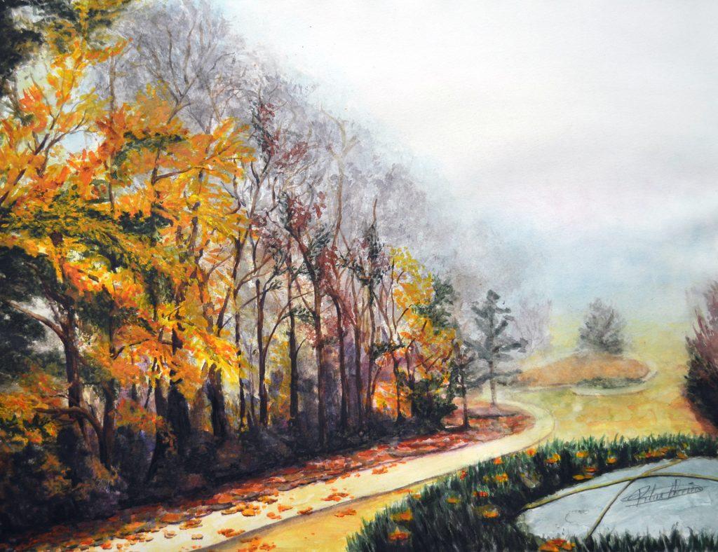 Paseo del Arga III. Pilar Aceña, acuarela. 60 x 46 cm. 2020