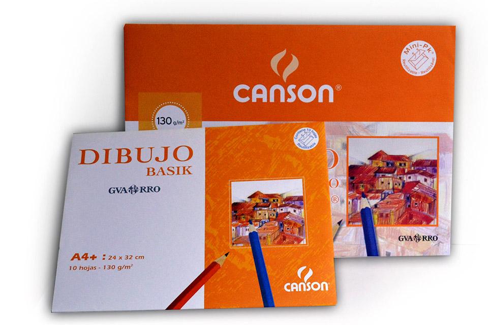 Minipack 10 hojas papel de dibujo Canson Basik