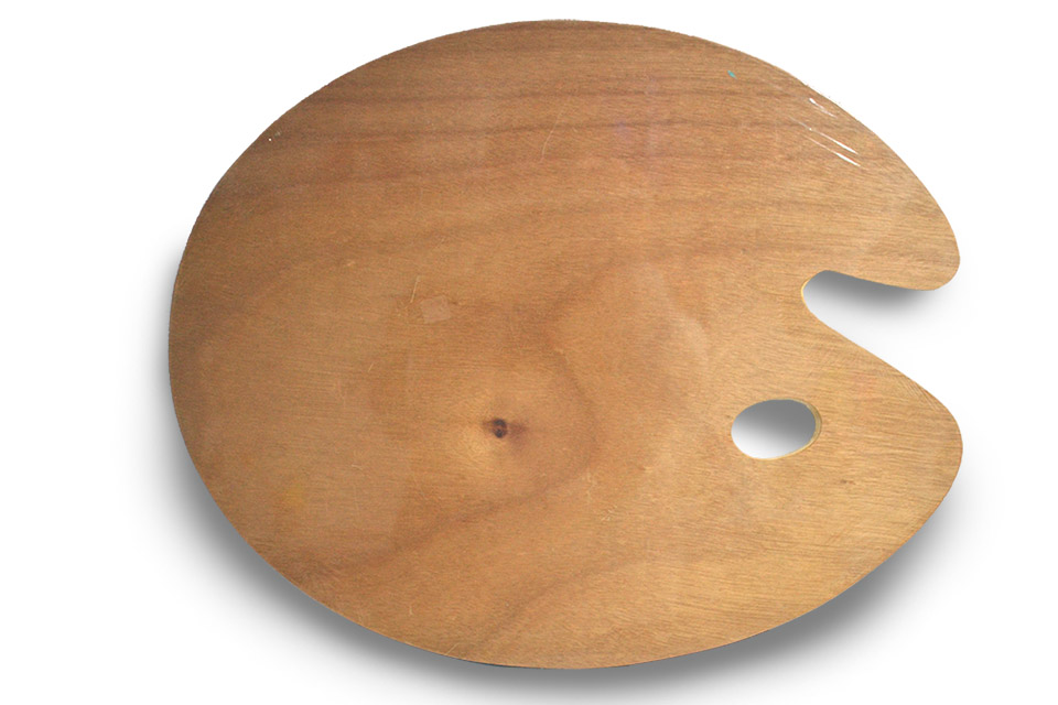Paleta de madera redonda, 49 x 39 cm