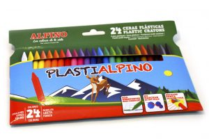 Pinturas Plastialpino en cajas de 24 colores