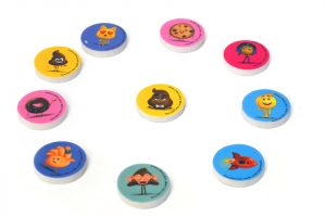 Discos de goma con dibujos
