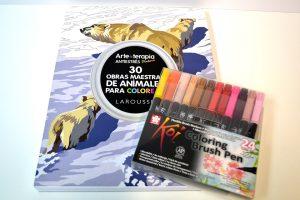 Lote Rotuladores pincel y Arte-terapia Animales