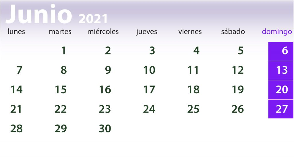Calendario clases mes de junio de 2021